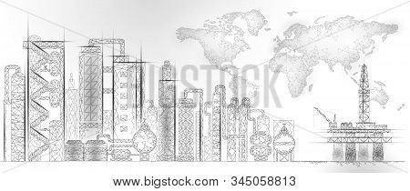 Petroleum Oil Refinery Complex Low Poly World Map. Finance Economy Polygonal Petrochemical Productio