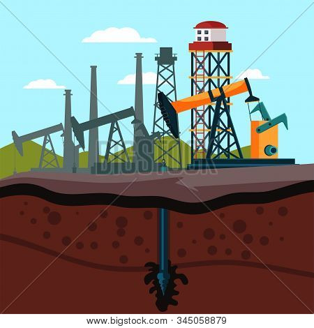 Refinery Plant Cutaway Flat Vector Illustration. Crude Oil Extraction Equipment. Drilling Rig, Oilfi