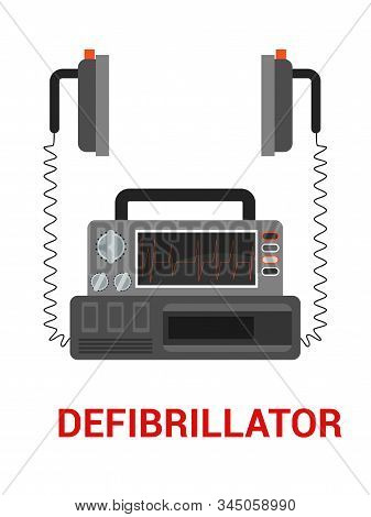 Defibrillator Flat Vector Illustration. Cpr, Emergency And Paramedic Service Tool. Artificial Cardia