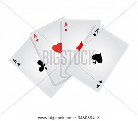 Four Aces Flat Vector Illustration. Game Of Chance. Playing Poker. Card Kare Isolated Clipart On Whi