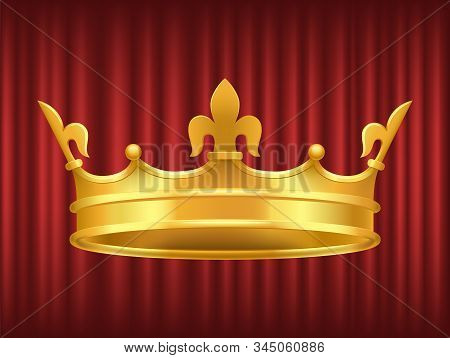 King Golden Crown On Red Background. Shiny And Luxury Headdress Of Royal Person. Coronation Ceremony
