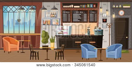 Coffeehouse Inside Design, Room With Furnishing. Furniture For Cafe Like Barista Stance And Place Fo