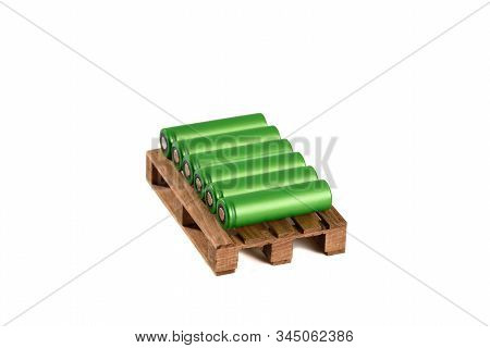 Green Li-ion Battery On Isolated Background, Lithium 18650