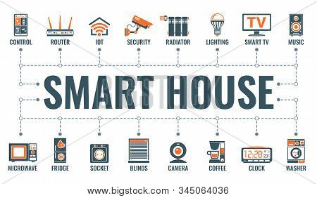 Smart House And Internet Of Things Horizontal Banner With Two Color Flat Icons Security, Lighting, I