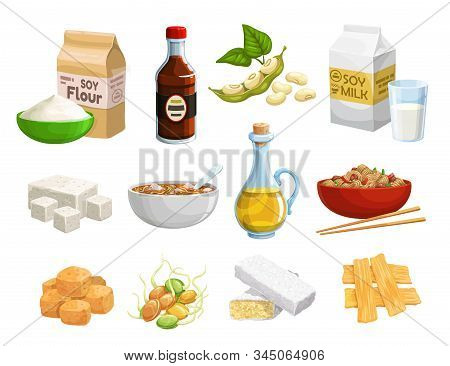 Soy Food And Vegan Products, Organic Healthy Natural Nutrition. Vector Soy Food Products, Meat And C