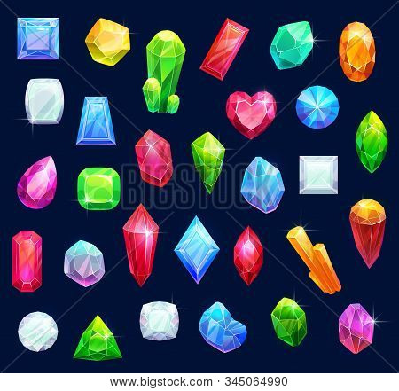 Gemstones, Gem Jewels, Diamonds And Jewelry Precious Stones. Vector Ruby, Sapphire Crystal And Emera
