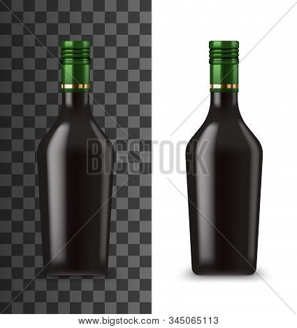 Cream Liquor Bottle Realistic 3d Mockup Template. Vector Isolated Blank Black Bottle Of Drink With G