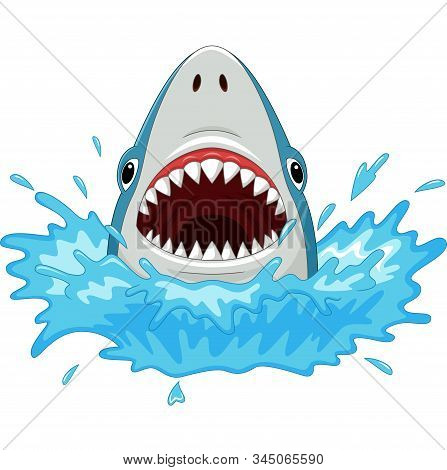 Vector Illustration Of Cartoon Shark With Open Jaws Isolated On A White Background
