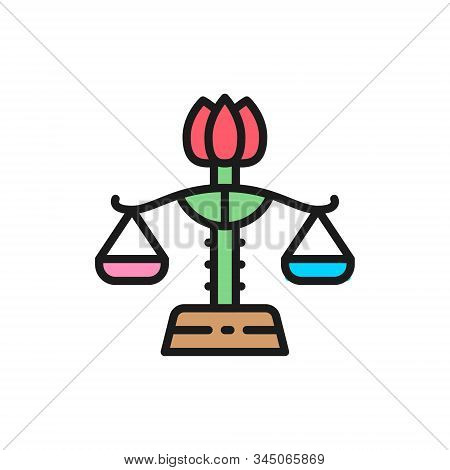 Female Libra, Gender Equality, Lady Justice Flat Color Line Icon.