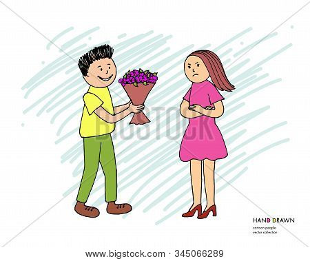 Young Offended Girl Refuses From Flowers From Her Boyfriend After Quarrel, Conflict, Argument. Boy G