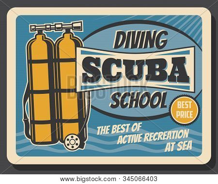 Scuba Diving School, Summer Sea Active Recreation Sport Club Vintage Retro Poster. Vector Profession