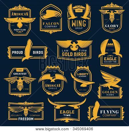 Heraldic Golden Eagle And Hawk Icons, Business Corporate Identity Signs. Vector Hawk And Eagle Head