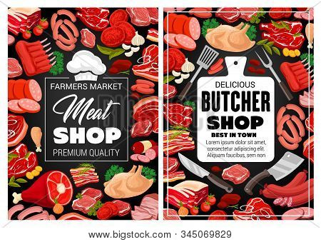 Meat Pork And Beef, Butcher Shop Food And Sausages Poster. Vector Farm Market Butchery Products Lamb