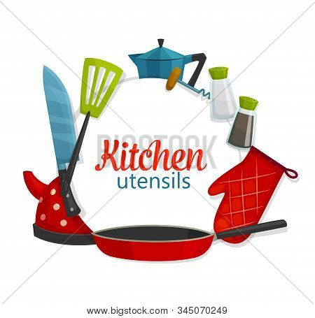 Kitchenware Utensils, Cooking Items And Cookware. Vector Tea Pot, Frying Pan With Spatula And Cutler