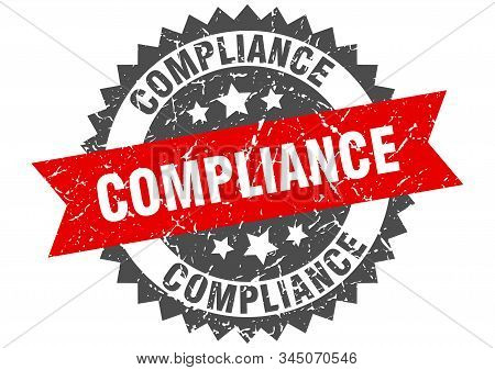 Compliance Grunge Stamp With Red Band. Compliance