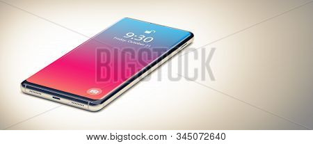 A Smartphone Or Cell Phone On White Table. Close Up. Top Down View. Mobile Phone Concept. 3d Render.