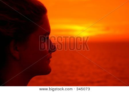 Young Woman At Sunset