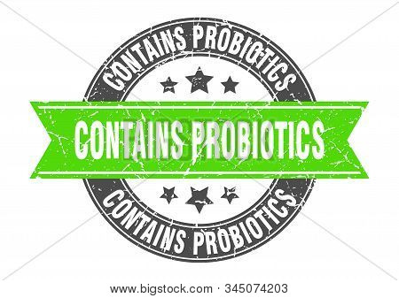 Contains Probiotics Round Stamp With Green Ribbon. Contains Probiotics