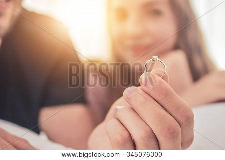 Close Up Wedding Ring Couple Live In Bedroom Happiness In Love Valentine's Day Concept And Couples P