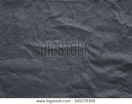 Gray Linen Texture As Background. Gray Linen Crumpled Tablecloth. Can Use As Mock Up For Design. Cop