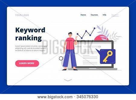 Landing Page Template On Search Engine Optimization Theme. Man Do Keywords Research To Improve Websi