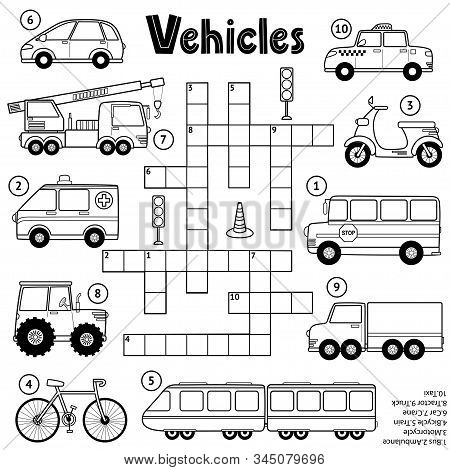 Black And White Crossword Puzzle Game For Kids About Transport