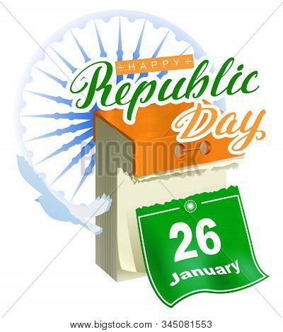 26 January Republic Day India. Calendar Sheet Calligraphy Lettering Text Greeting Card Samsara Ashok