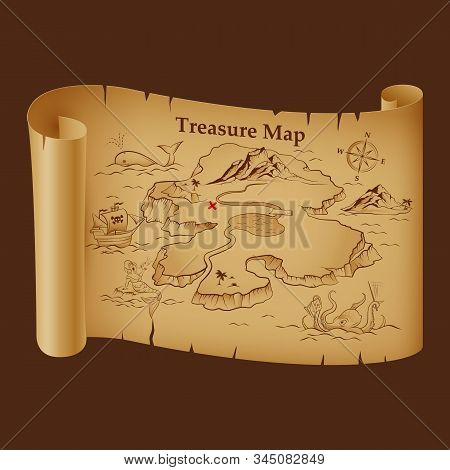 Stylized Pirate Map On Vintage Paper With Treasure On The Island. Pirate Ship, Sea Monsters, Mermaid