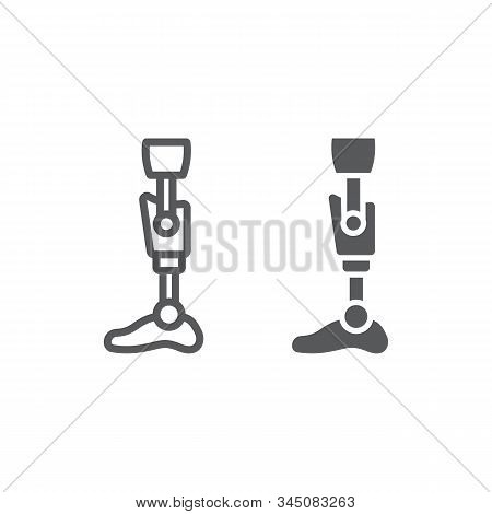 Leg Knee Prosthesis Line And Glyph Icon, Orthopedic And Medical, Prosthetic Leg Sign, Vector Graphic