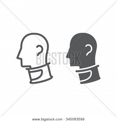 Cervical Collar Line And Glyph Icon, Orthopedic And Medical, Neck Collar Sign, Vector Graphics, A Li