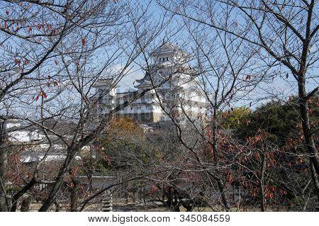Beautiful White Himeji Castle In Autumn Season In Hyogo Prefecture, Japan. Himeji Castle Is The Larg