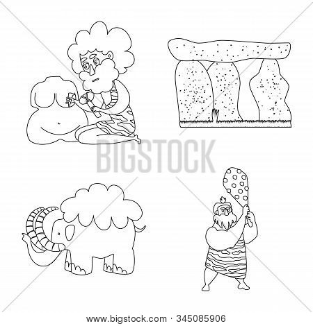 Vector Illustration Of Primitive And Archeology Icon. Collection Of Primitive And History Stock Symb