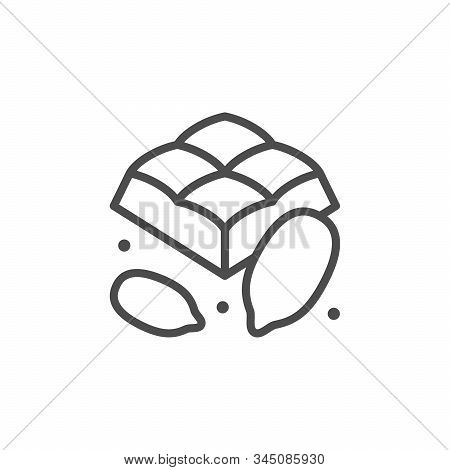 Cocoa Chocolate Piece Line Outline Icon Isolated On White. Square Block Sweet Product. Sweetness Cac