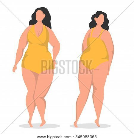 Flat Vector Illustration With Plus Size Brunette. Body Positive Woman In Swimsuit. Front And Back Vi