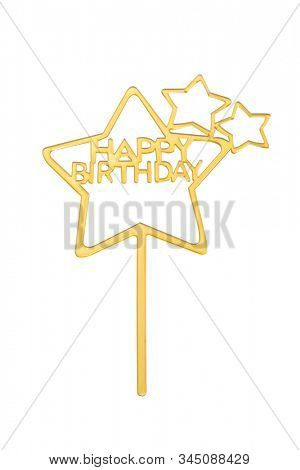 Gold Happy Birthday Cake topper isolated on white, including clipping path