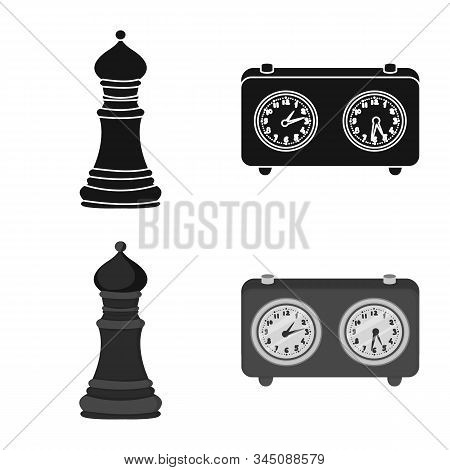 Isolated Object Of Checkmate And Thin Logo. Collection Of Checkmate And Target Vector Icon For Stock