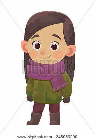 Cute Little Girl In Winter Clothes In Cartoon Style On White Background