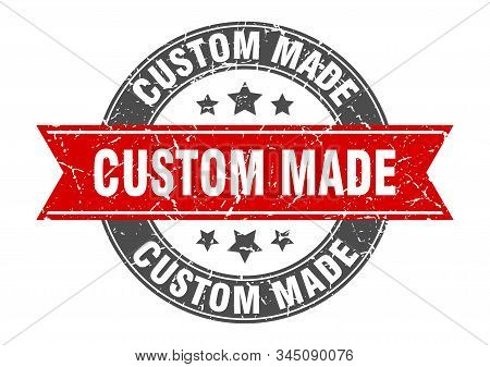 Custom Made Round Stamp With Red Ribbon. Custom Made