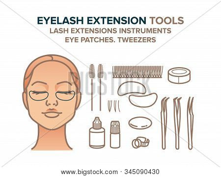 Eyelash Extension Tools Illustration. Eye Patches, Eyelashes, Tweezers, Glue, Other