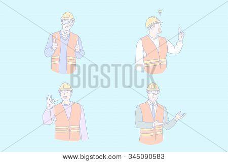Civil Engineer Work, Project Idea, Success, Positive Emotions Concept. Building, Constructing Indust
