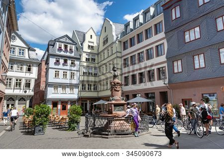 Frankfurt, Germany - July 2019: Frankfurt Old Town View And Tourists In Summer In The Altstadt (old