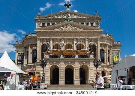 Frankfurt, Germany - July 2019: Old Opera Or Alte Oper In The City Of Frankfurt, Germany On A Summer