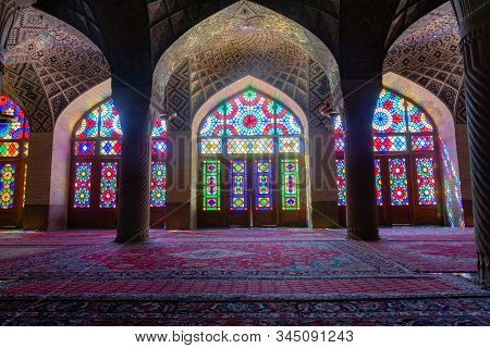 Shiraz, Iran - June 2018: Inside Of Nasir Ol Molk Mosque Also Known As Pink Mosque, One Of The Most