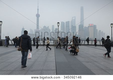 28 November 2018: Shanghai, China - A Typical Day On The Bund, China, Looking Towards Pudong Distric