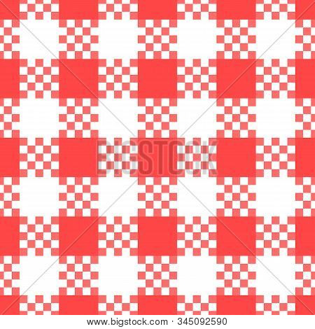 Checkered Seamless Pattern. Red And White Color. Kitchen Surface Texture Print Design. Vector Stock