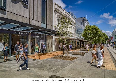 8 January 2019: Christchurch, New Zealand - Shopping At The New Shops In Cashel Street On A Sunny Su