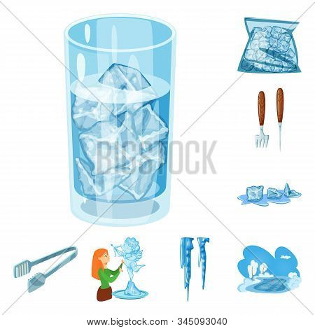 Vector Design Of Frost And Water Symbol. Collection Of Frost And Wet Stock Symbol For Web.