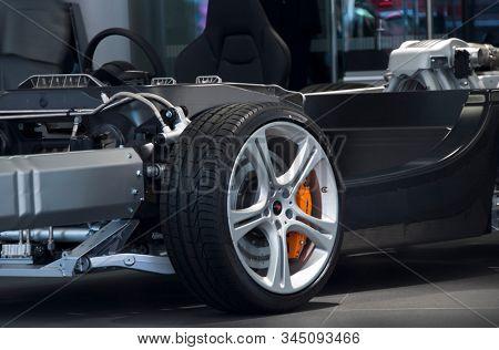 LONDON, UK - CIRCA AUGUST 2011: McLaren MP4-12C carbon and aluminum chassis.