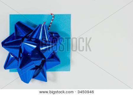Blue Bow On Sticky Note
