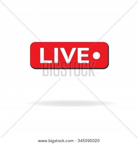 Red Symbol Button Of Live Streaming, Broadcasting, Online Stream. Lower Third Template For Tv, Shows